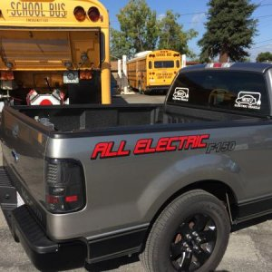 All electric school bus and all electric F150 built by Edward Monfort