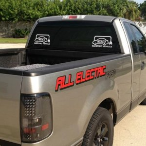 All electric F150 with battery module in bed built by Edward Monfort.  88mph top speed and 75 mile distance with 38KWH battery pack.  Installed the ki